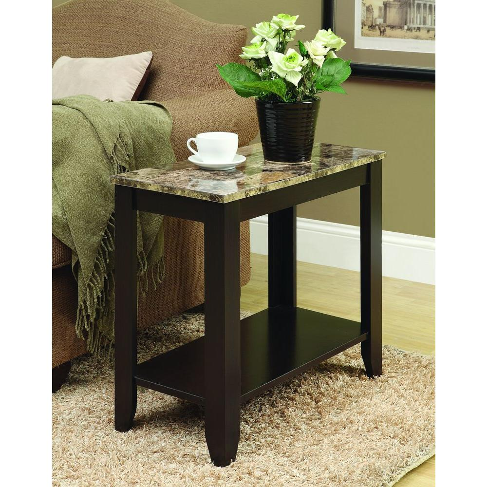 Monarch Specialties Cappuccino/Marble Top Accent Side Table