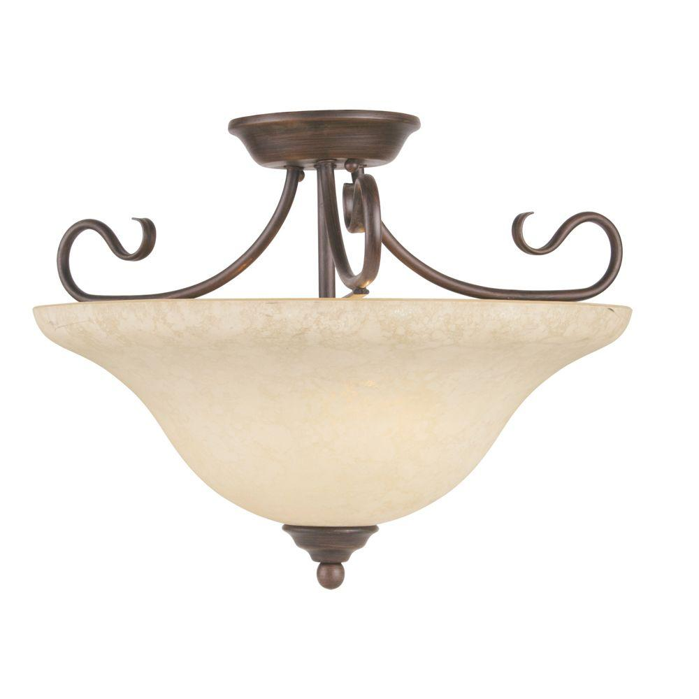 Livex Lighting 3-Light Bronze Flushmount with Vintage Scavo Glass Shade-6130-58