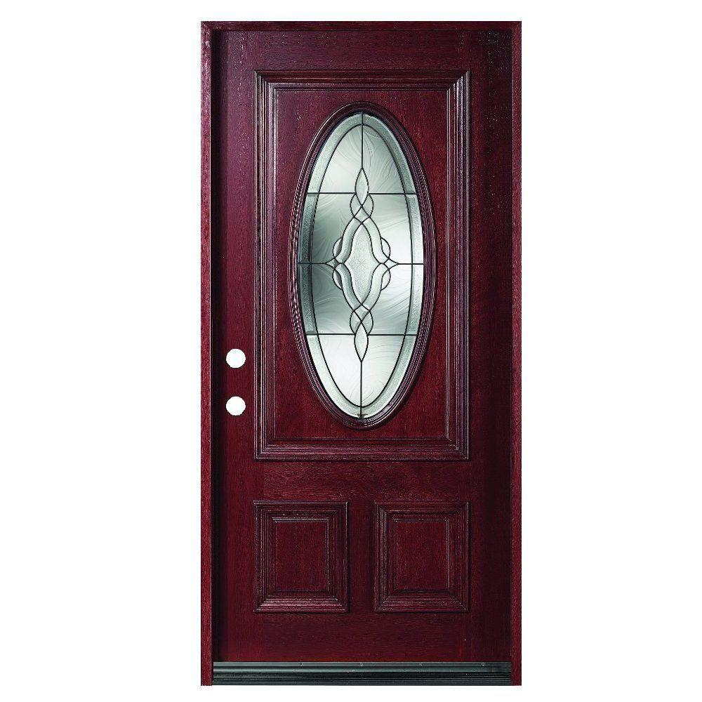 null 36 in. x 80 in. Solid Mahogany Type Prefinished Antique Patina Beveled Glass 3/4 Oval Front Door Slab