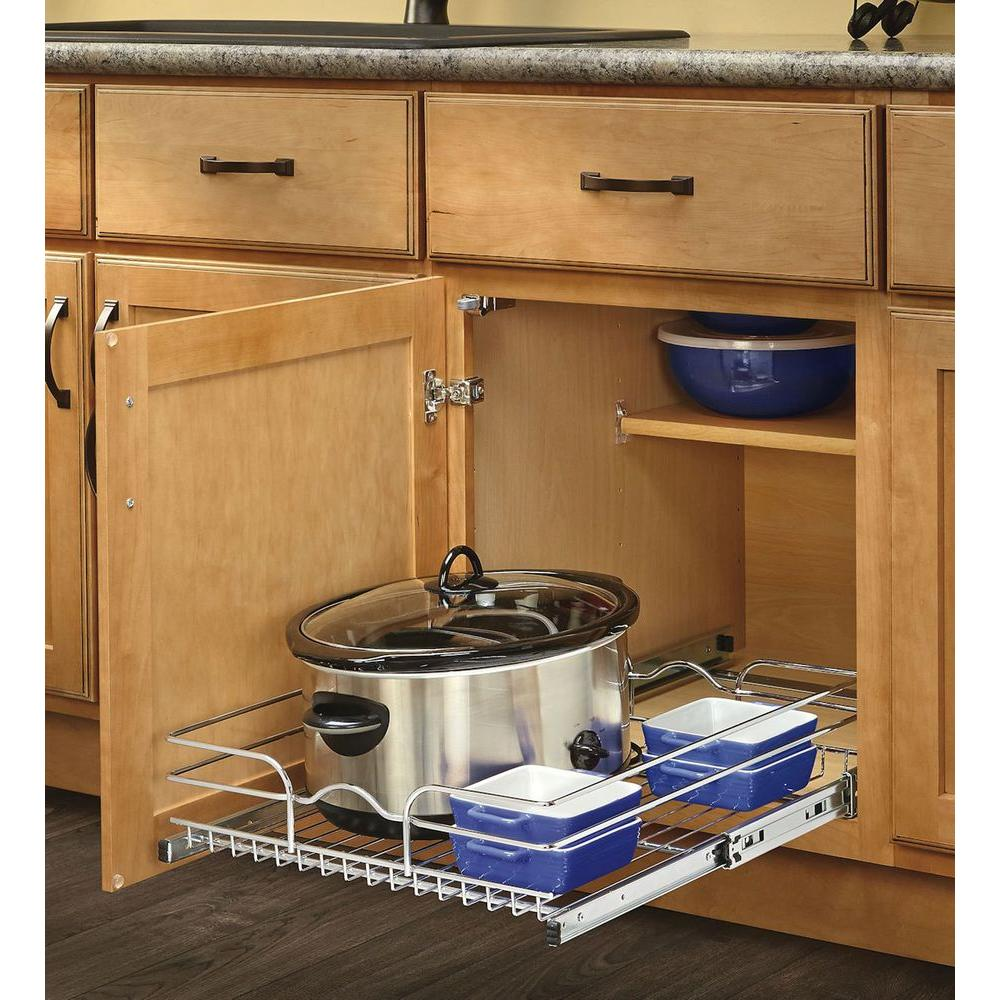 12 in. W x 20 in. D Base Cabinet Pull-Out Chrome