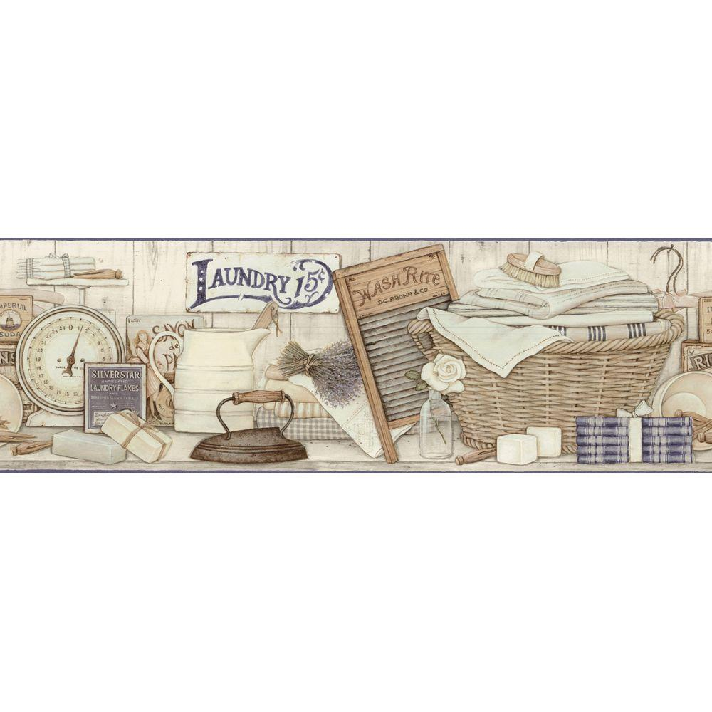 The Wallpaper Company 8 in. x 10 in. Neutral Laundry Border Sample