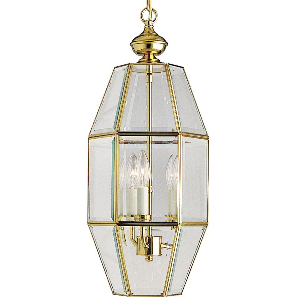 Progress Lighting 3-Light Polished Brass Foyer Pendant-DISCONTINUED