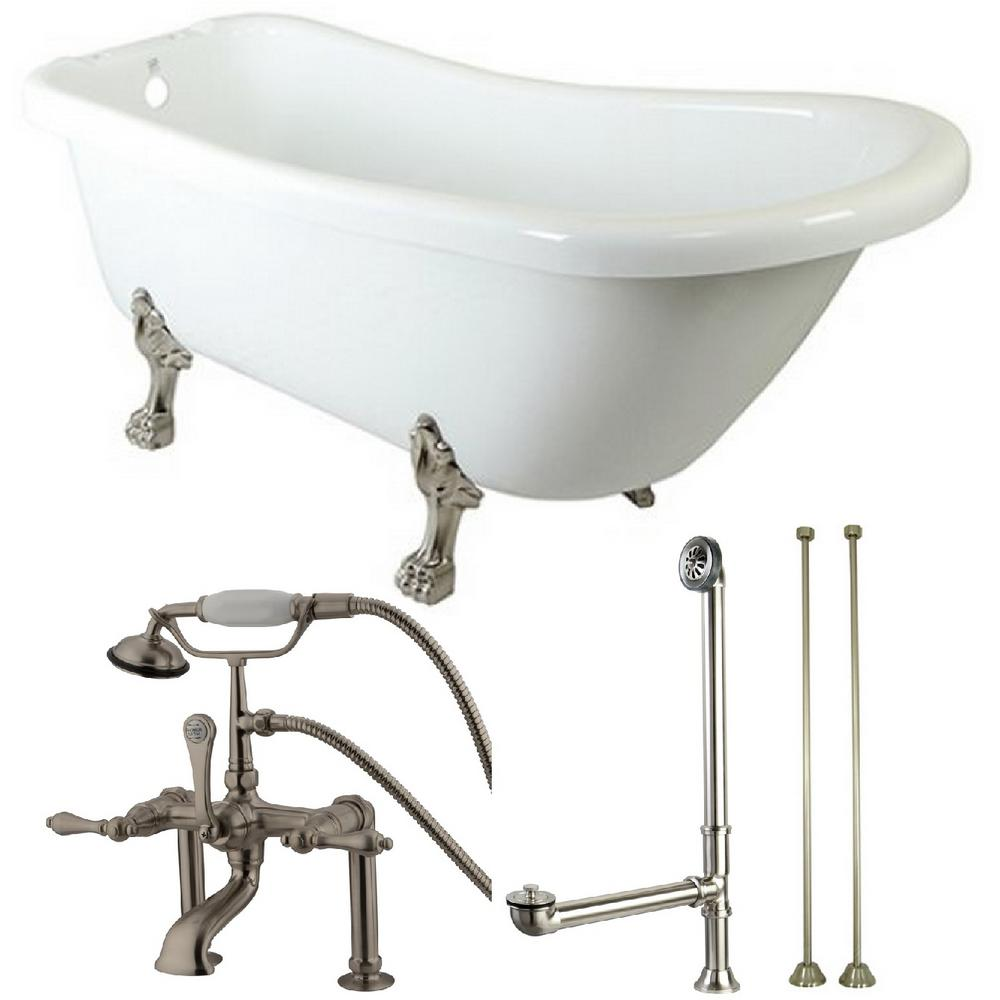 Aqua Eden Slipper 5 6 Ft Acrylic Clawfoot Bathtub In White And Faucet Combo