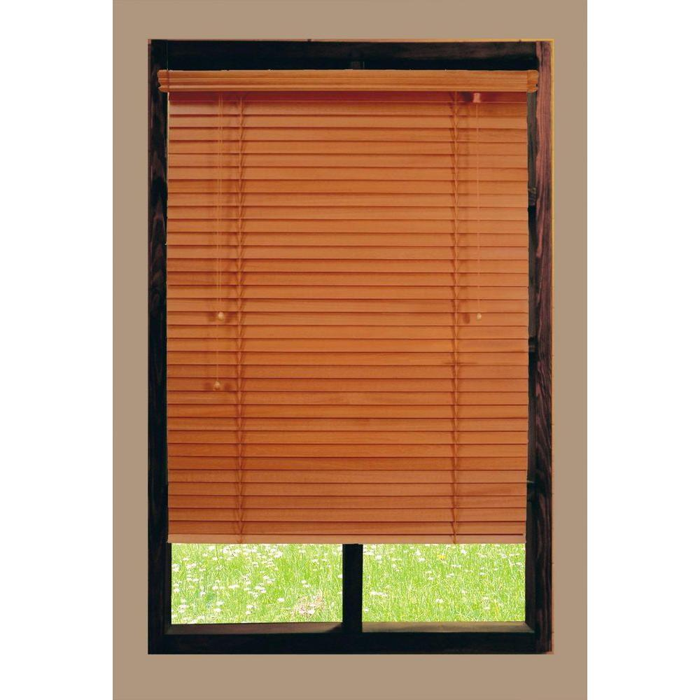 Home Decorators Collection Cut-to-Width Golden Oak 2 in. Basswood Blind - 56.5 in. W x 72 in. L (Actual Size 56 in. W x 72 in. L )