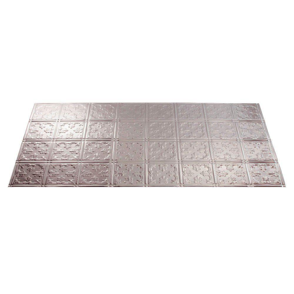 Fasade Traditional 10 2 ft. x 4 ft. Brushed Aluminum Lay-in Ceiling Tile