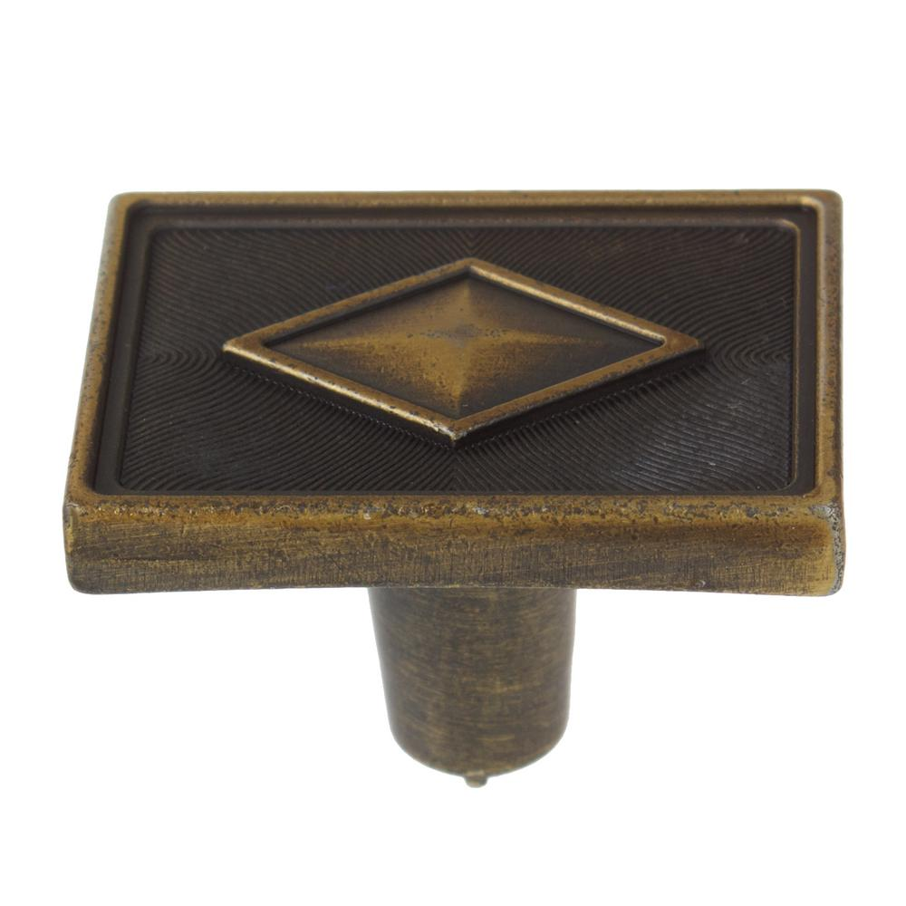 1-3/8 in. Antique Brass Diamond Collection Rectangle Cabinet Knobs (10-Pack)