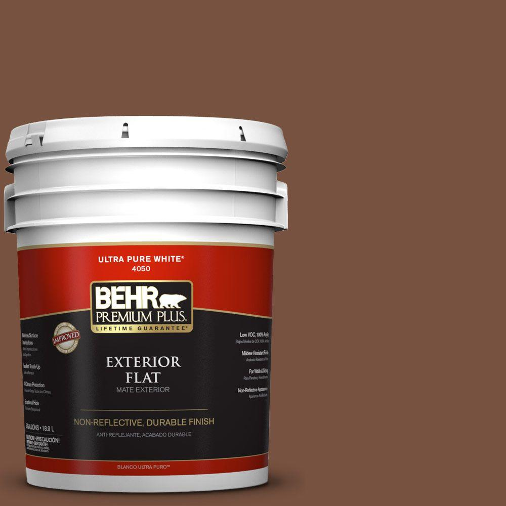 BEHR Premium Plus 5-gal. #S200-7 Earth Fired Red Flat Exterior Paint