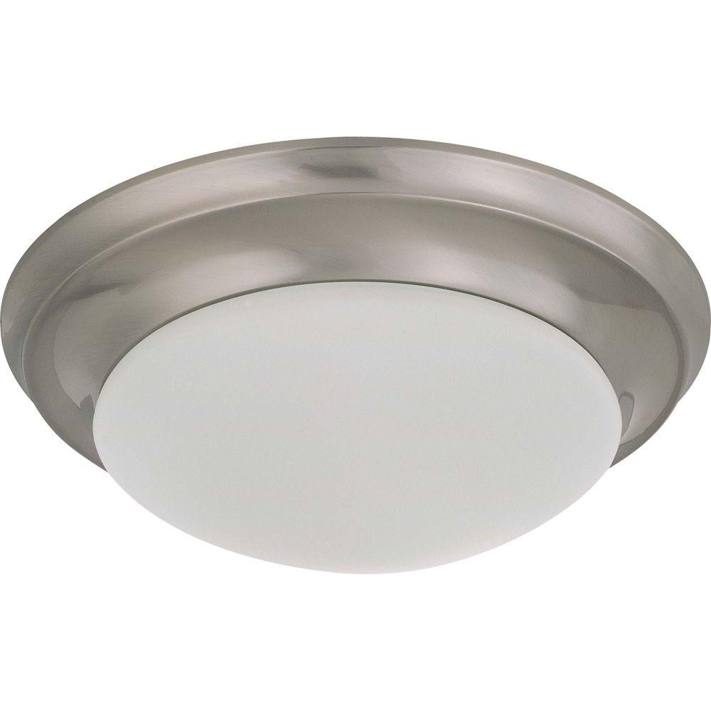 Elektra 1-Light Brushed Nickel Flushmount with Frosted White Glass