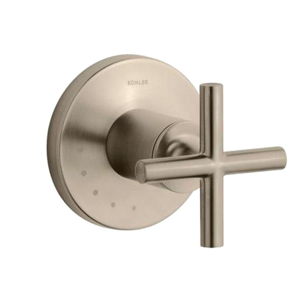 KOHLER Purist 1-Handle Volume Control Valve Trim Kit with Cross Handle in Vibrant Brushed Bronze (Valve Not Included)