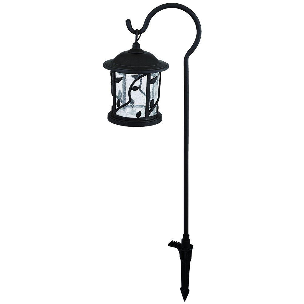 Hampton Bay Floral Shepherd Hook Low-Voltage Bronze Outdoor Integrated LED Path