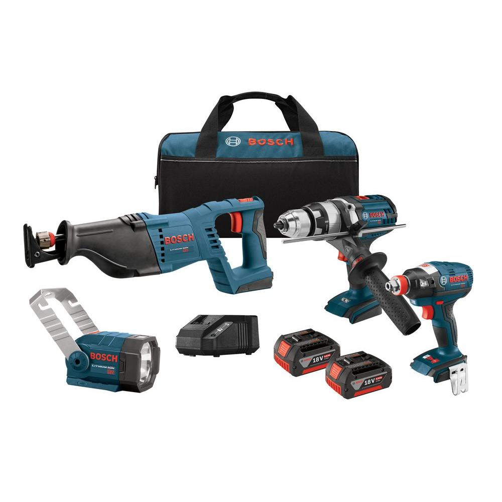 18-Volt Lithium-Ion Cordless Drill/Driver, Reciprocating Saw, Impact Driver and