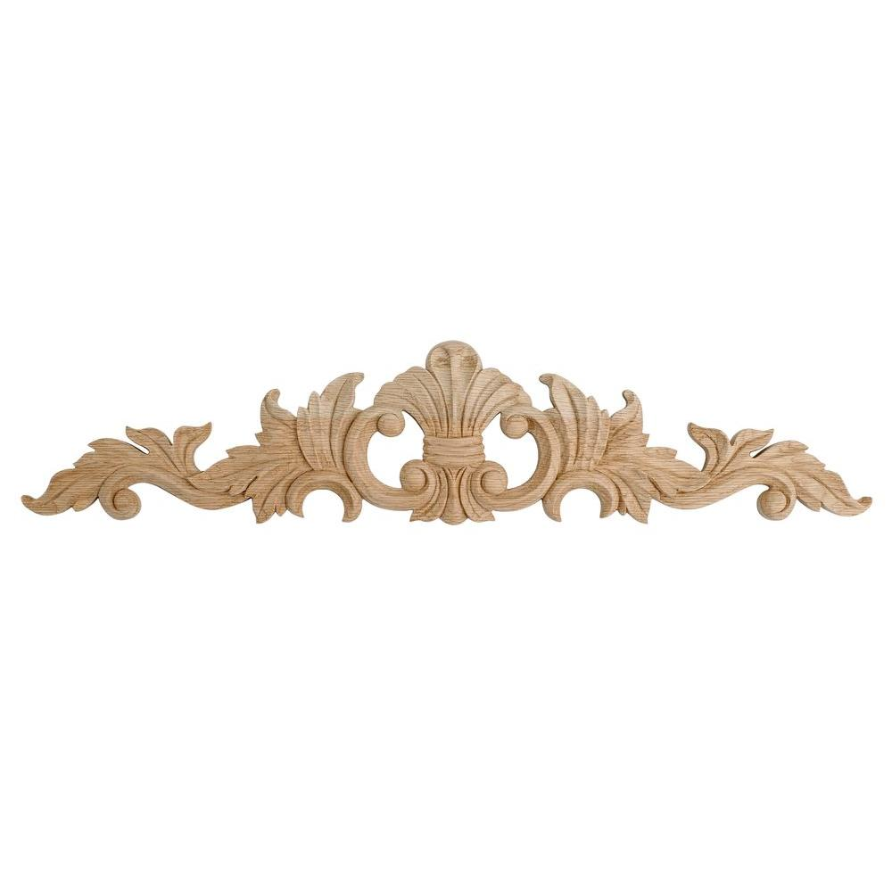 American Pro Decor 2-5/8 in. x 12 in. x 3/8 in. Unfinished Small Hand Carved North American Solid Red Oak Wood Onlay Acanthus Wood Applique