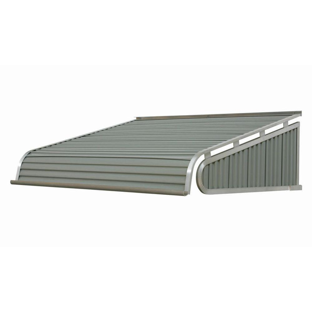 NuImage Awnings 5 ft. 2100 Series Aluminum Door Canopy (18 in. H x 48 in. D) in Greystone