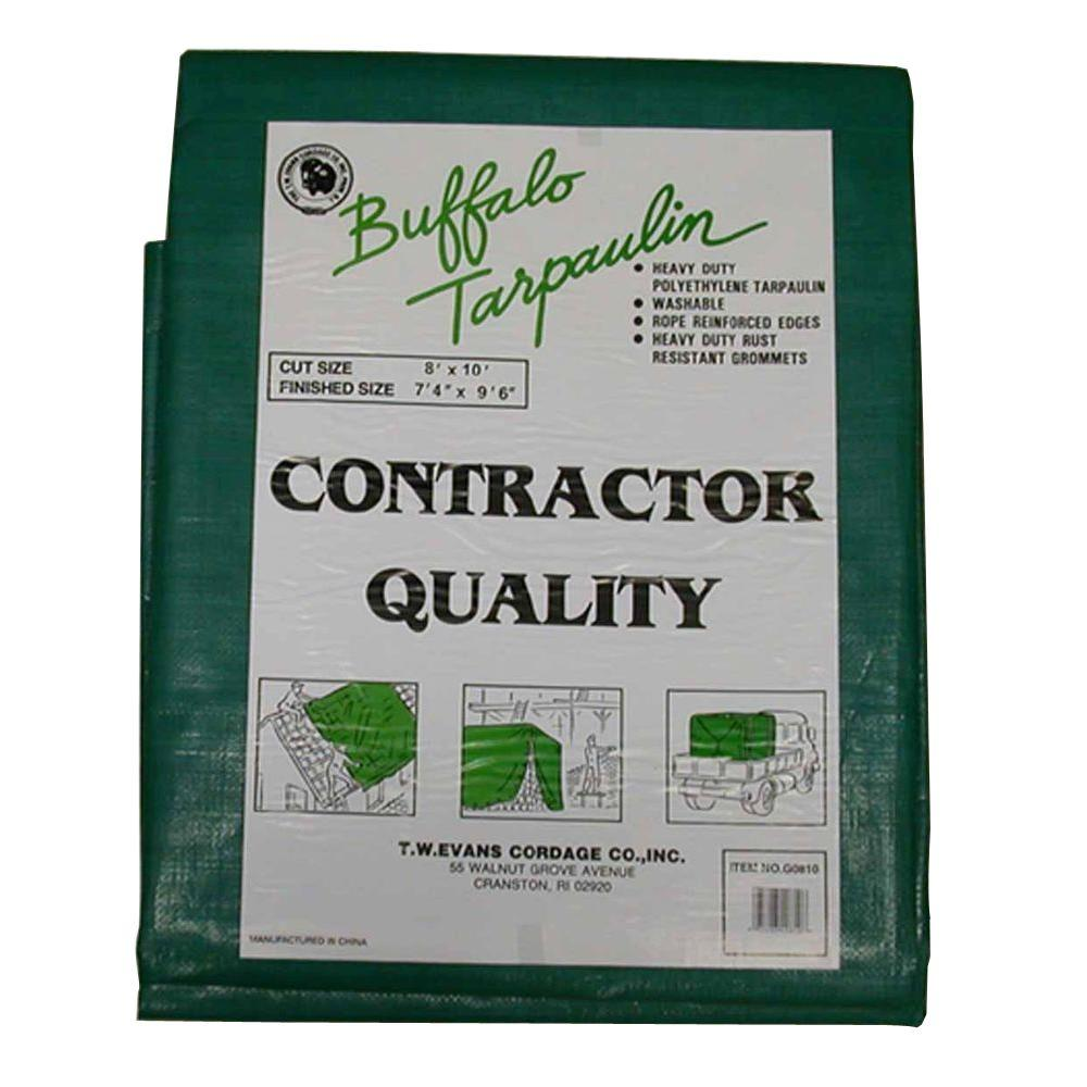 8 ft. x 10 ft. Black/Green Contractor Grade Value Poly Tarp