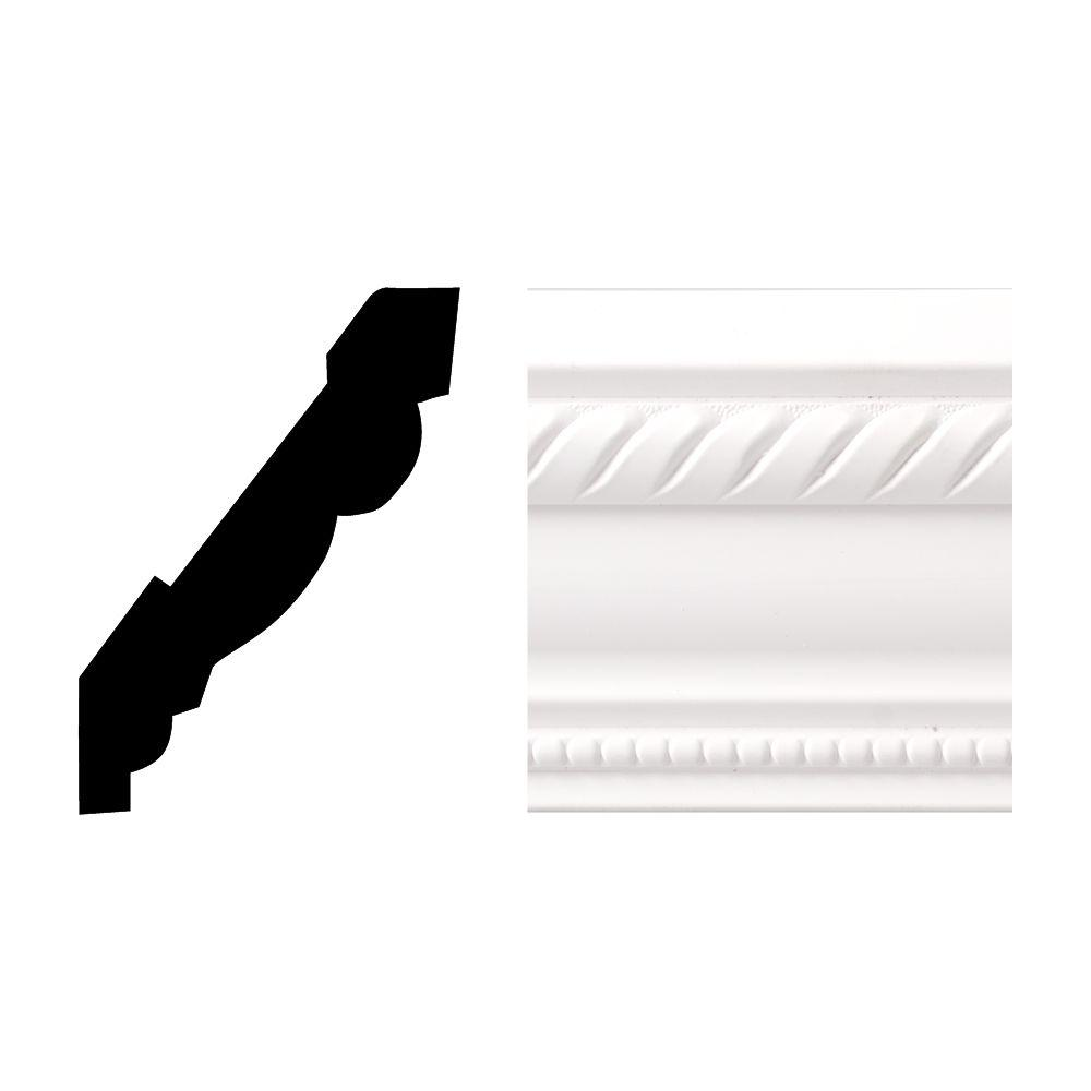 Royal Mouldings Creations 6611 11/16 in. x 3-5/8 in. x 8 ft. PVC Composite White Crown Moulding