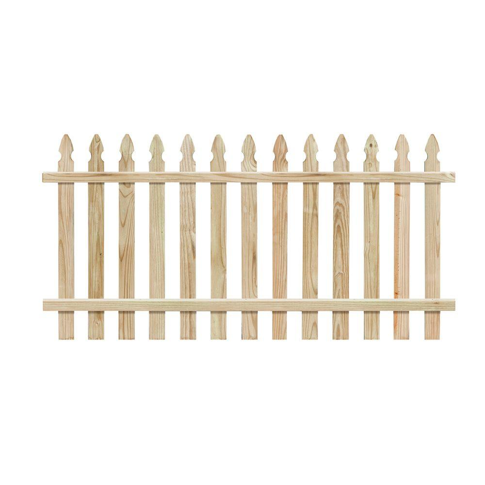 null 4 ft. H x 8 ft. W Pressure-Treated Pine Spaced French Gothic Fence Panel