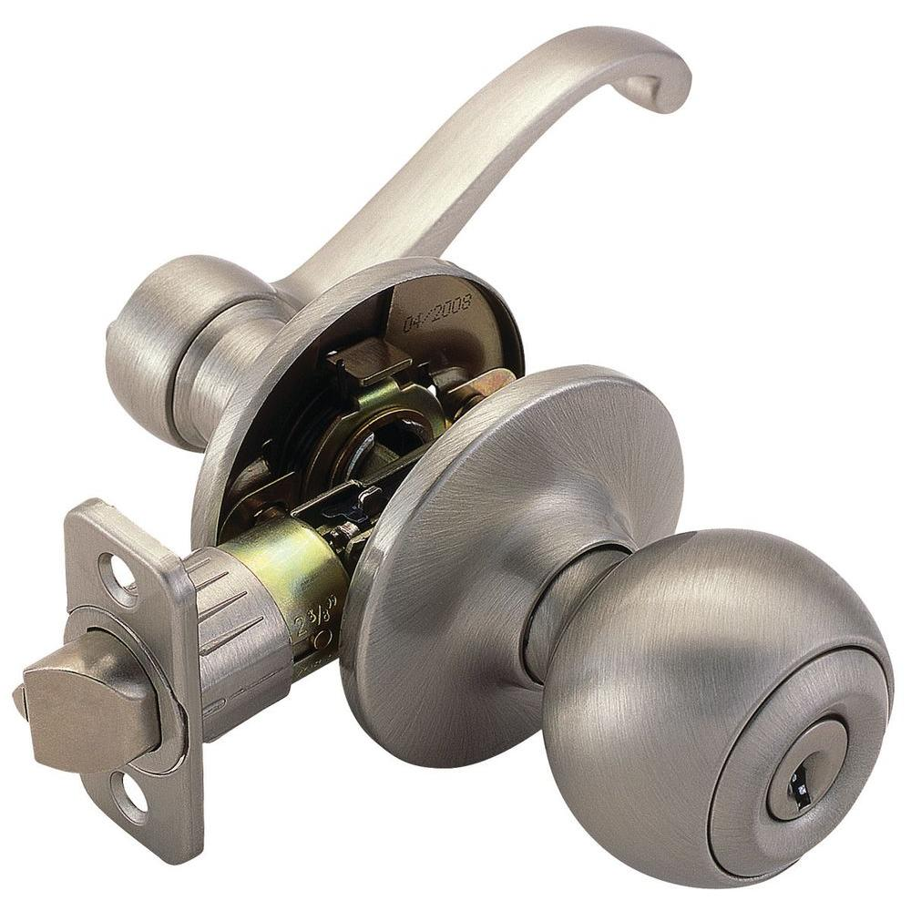Design House Ball Satin Nickel Entry Knob with Scroll Lever Interior and Universal 6-Way Latch