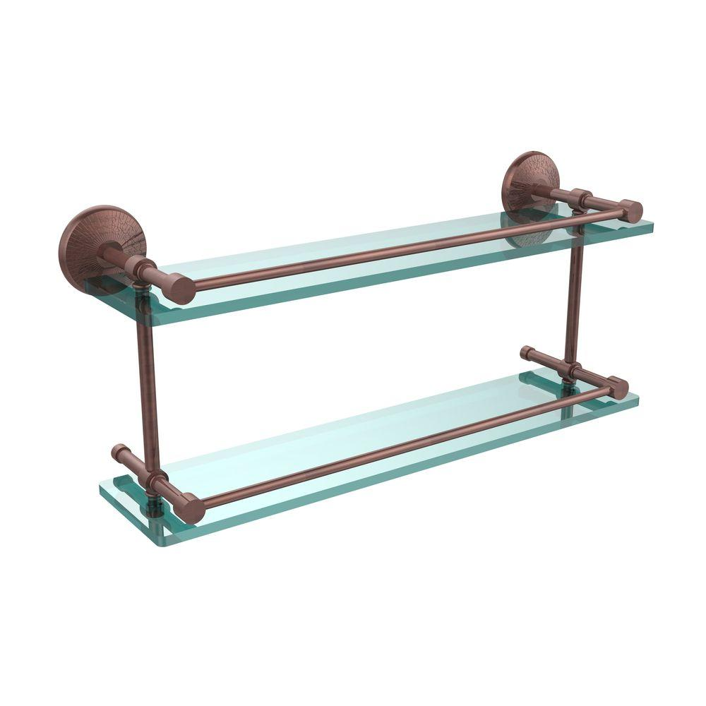 Allied Brass Monte Carlo 22 in. W Double Glass Shelf with Gallery Rail in Antique Copper