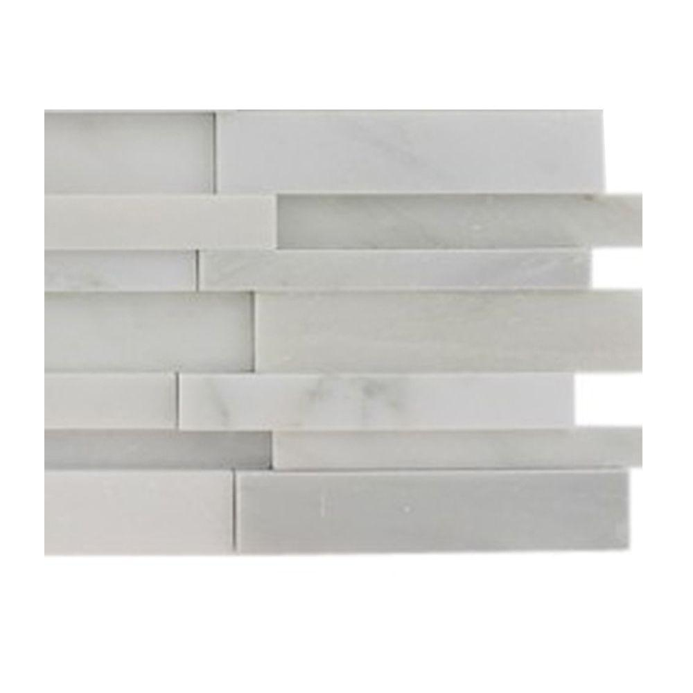 Splashback Tile Dimension 3D Brick Asian Statuary Pattern Marble Mosaic Floor and Wall Tile - 3 in. x 6 in. x 8 mm Tile Sample