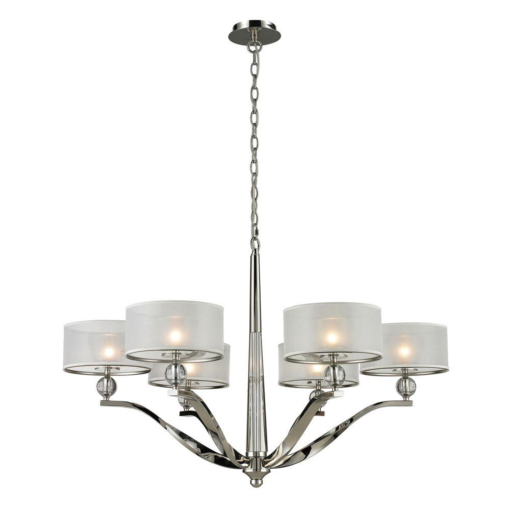 Titan Lighting 6-Light Ceiling Mount Polished Nickel Chandelier-DISCONTINUED