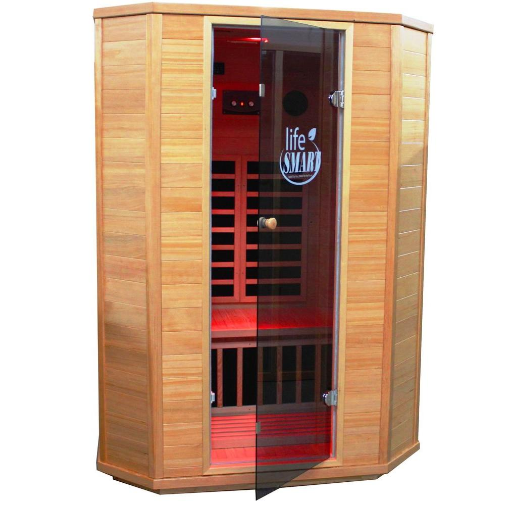 Lifesmart Signature InfraColor 2 Person Sauna with 4 Carbon and 2 Ceramic Heaters Mp3 Tinted Glass and Chromo Therapy-DISCONTINUED