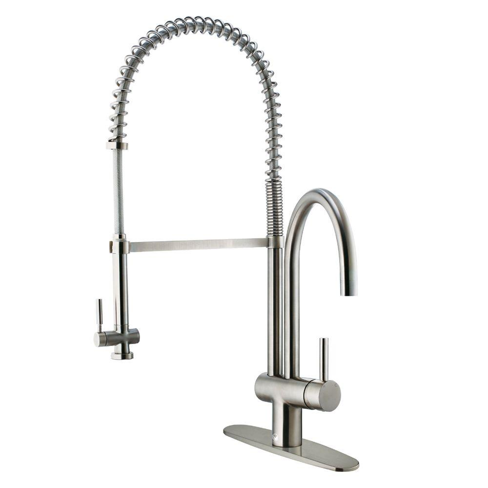 Vigo Single-Handle Pull-Down Sprayer Kitchen Faucet with Deck Plate in Stainless Steel