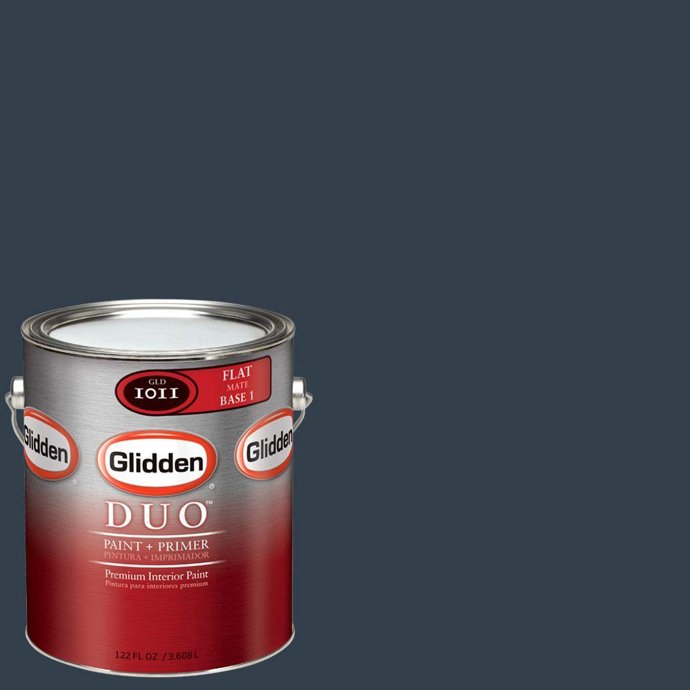 Glidden Team Colors 1-gal. #NFL-047A NFL Houston Texans Midnight Navy Flat Interior Paint and Primer