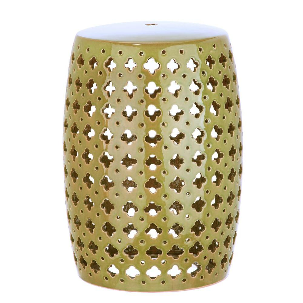 Lovely Lacey Garden Spring Green Patio Stool