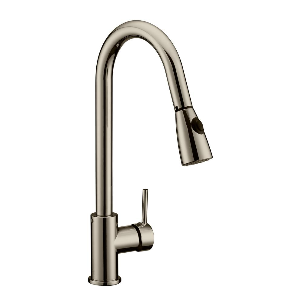 Eastport Single-Handle Pull-Down Sprayer Kitchen Faucet in Satin Nickel