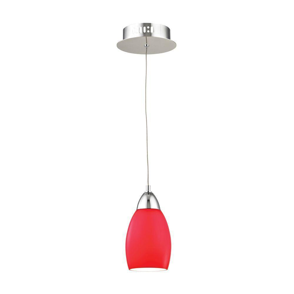 Buro 1-Light Chrome LED Pendant with Red Glass-TN-92165 - The Home