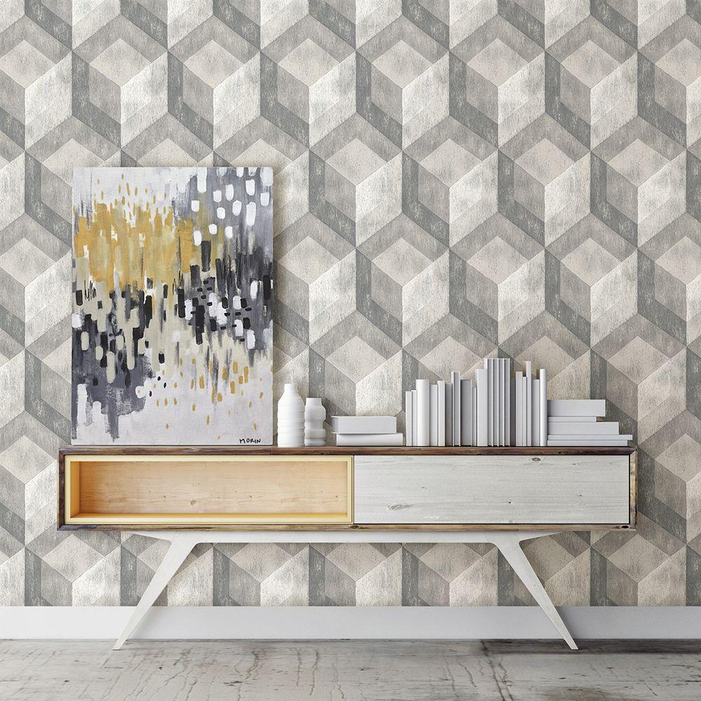 Ash Rustic Wood Tile Wallpaper