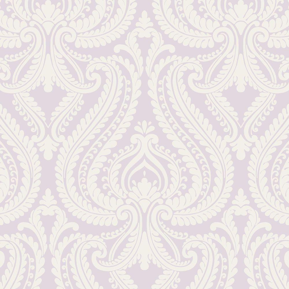 Beacon House 8 in. W x 10 in. H Imperial Lavender Modern Damask Wallpaper Sample