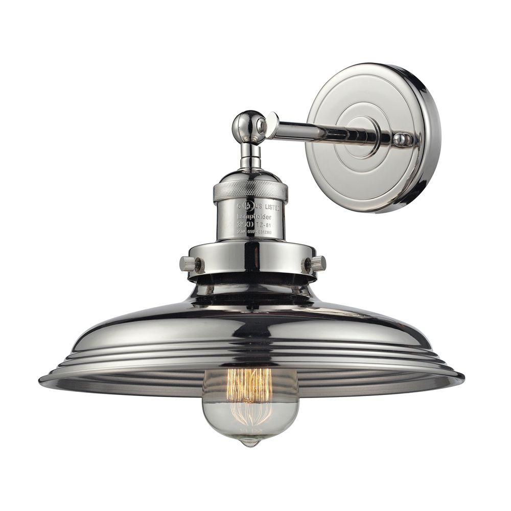 Titan Lighting Port Lincoln Collection 1-Light Polished Nickel Sconce-TN-43061 -
