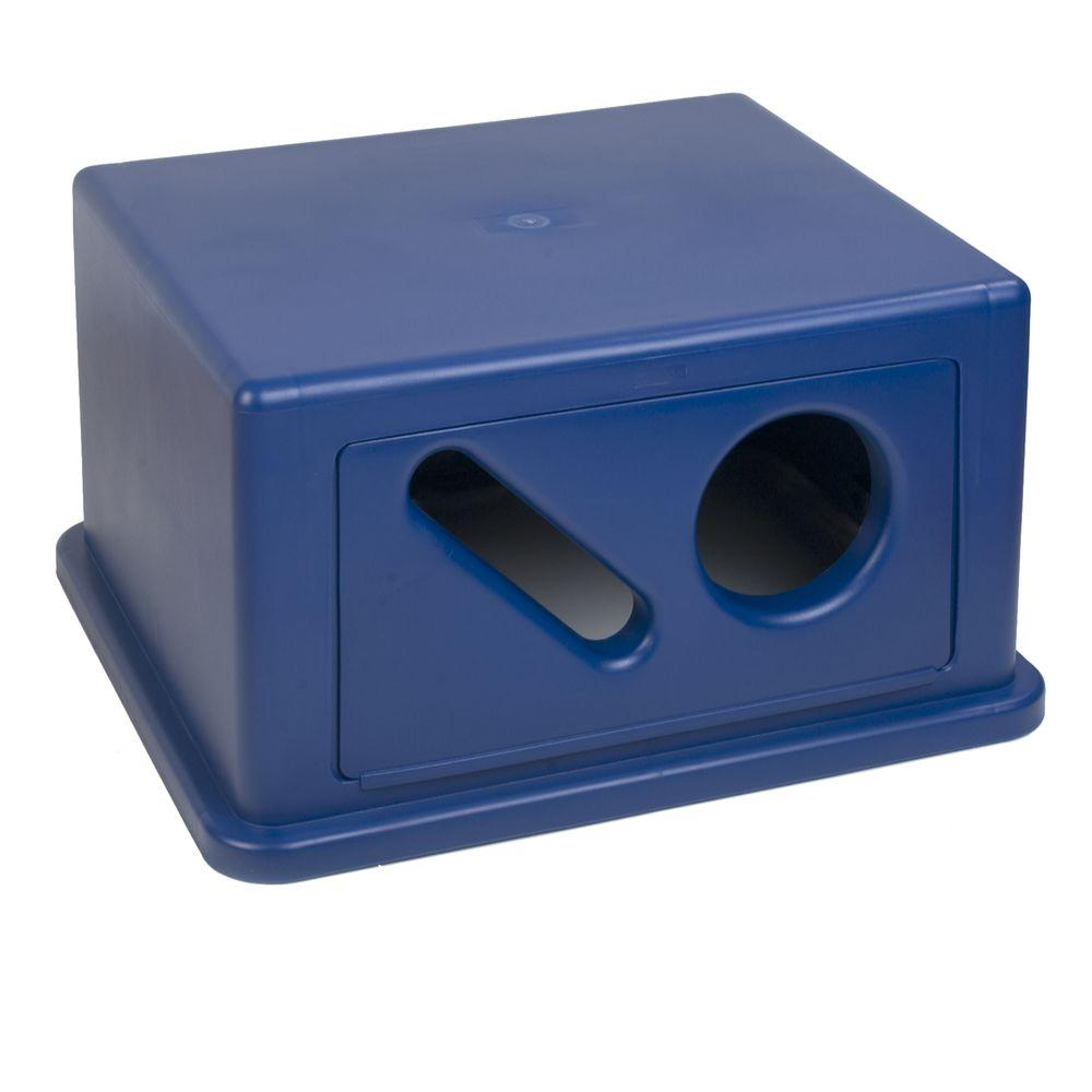 Carlisle 56 Gal. Blue Square Trash Can Hooded Recycling Dome Top for Cans and Paper