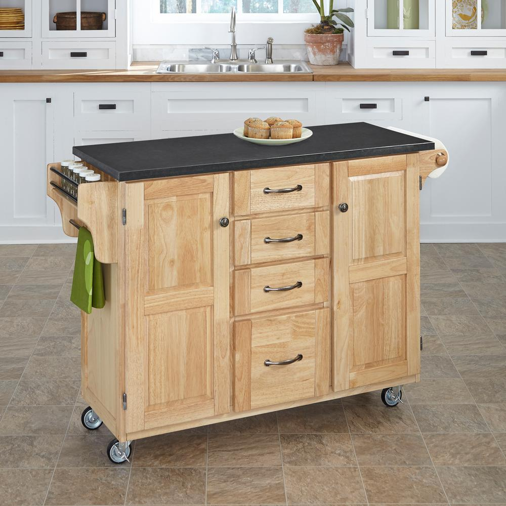 Home Styles 53 in. W Quartz Top Kitchen Cart in Natural-9100-0109