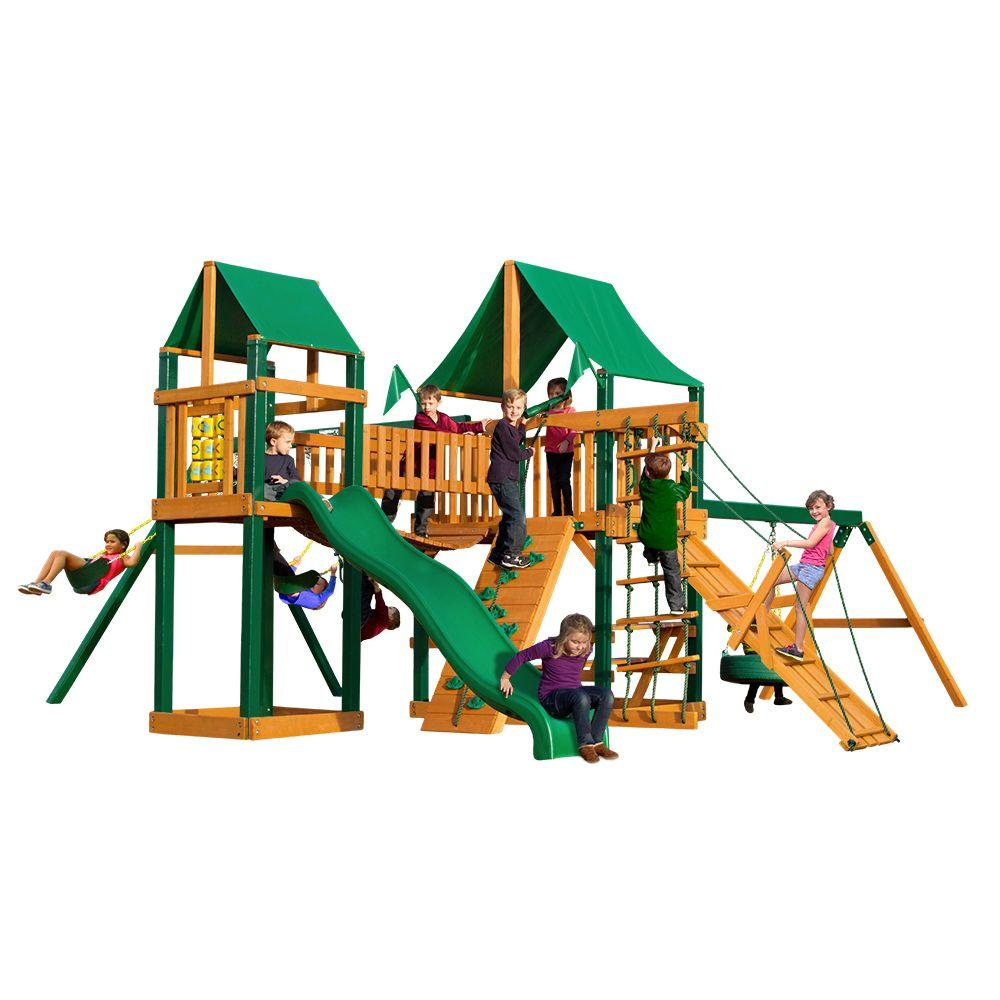 Gorilla Playsets Pioneer Peak with Timber Shield and Deluxe Green Vinyl Canopy Cedar Playset, Browns/Tans