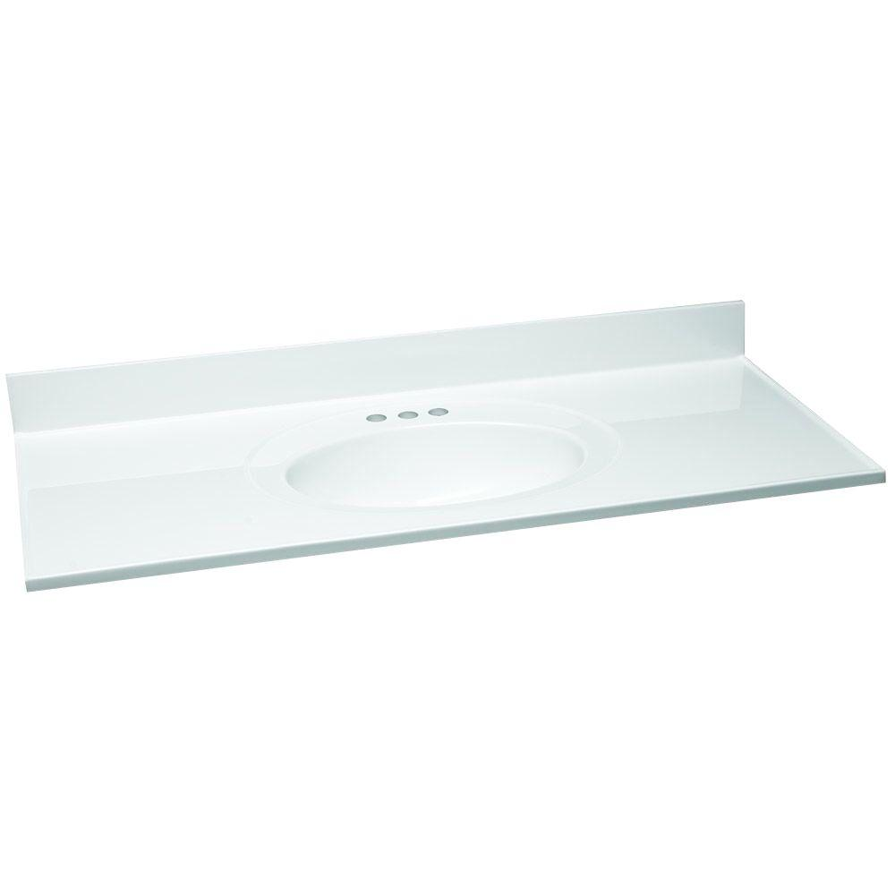 61 in. W Cultured Marble Vanity Top in White with Solid