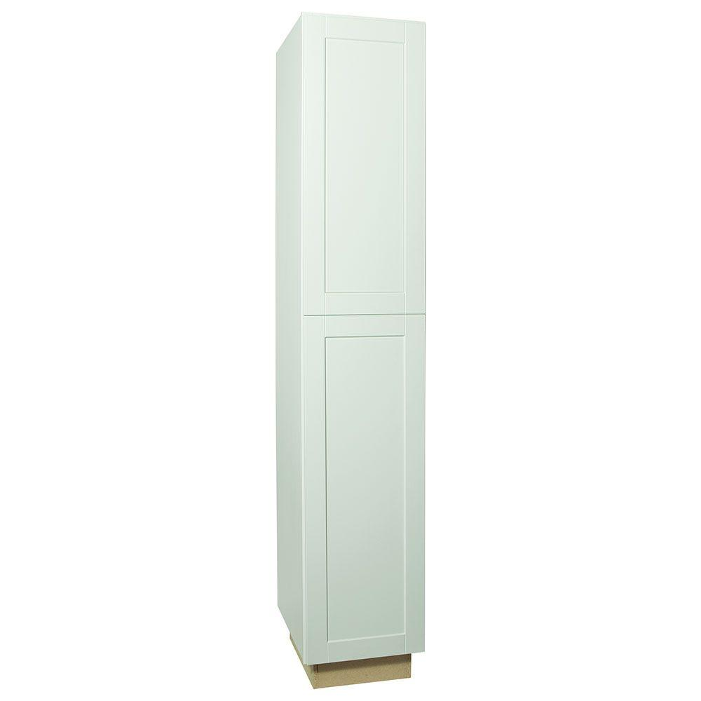 Shaker Assembled 18x96x24 in. Pantry Kitchen Cabinet in Satin White