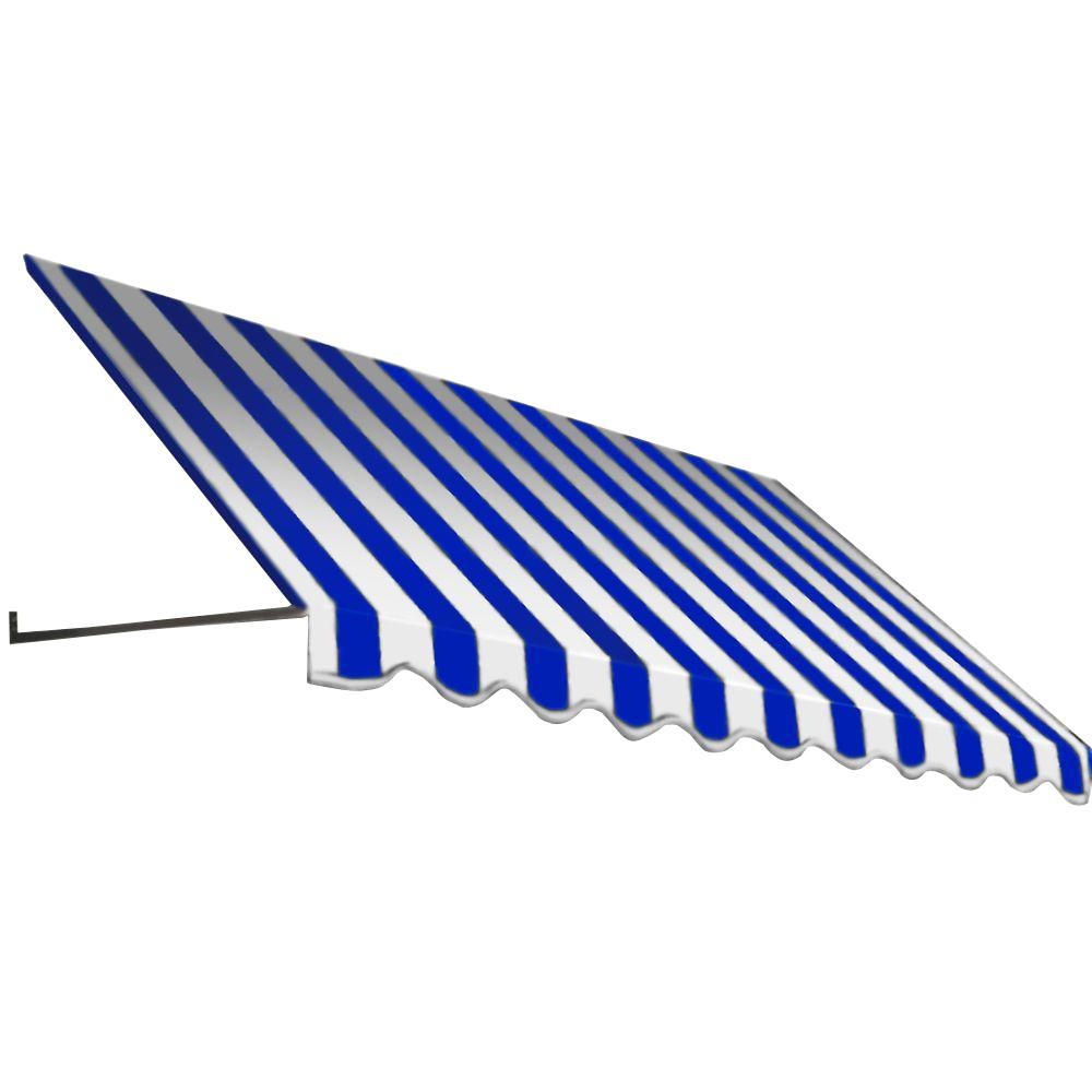 AWNTECH 14 ft. Dallas Retro Window/Entry Awning (44 in. H x 48 in. D) in Bright Blue/White Stripe