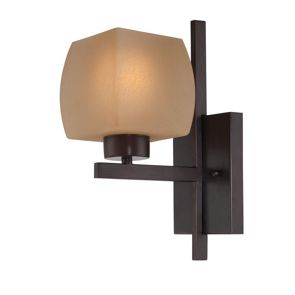 Designer Collection 1-Light Bronze Sconce with Amber Glass