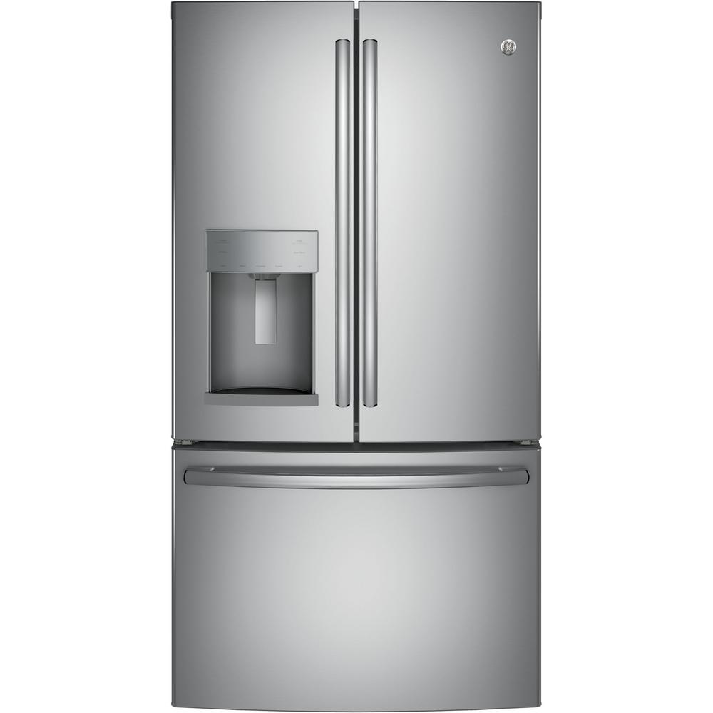 Energy Star Kitchen Appliances Ge 3575 In W 278 Cu Ft French Door Refrigerator In Stainless