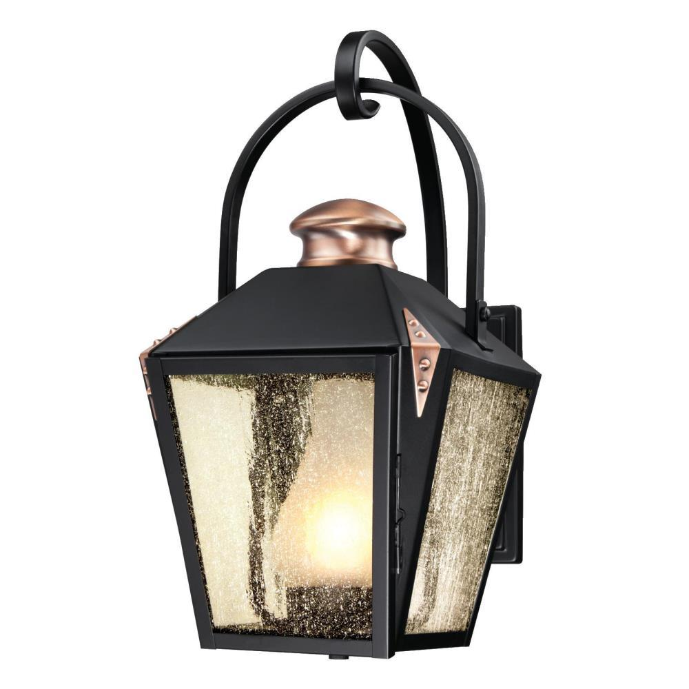 Valley Forge Matte Black 1-Light Outdoor Wall Mount Lantern