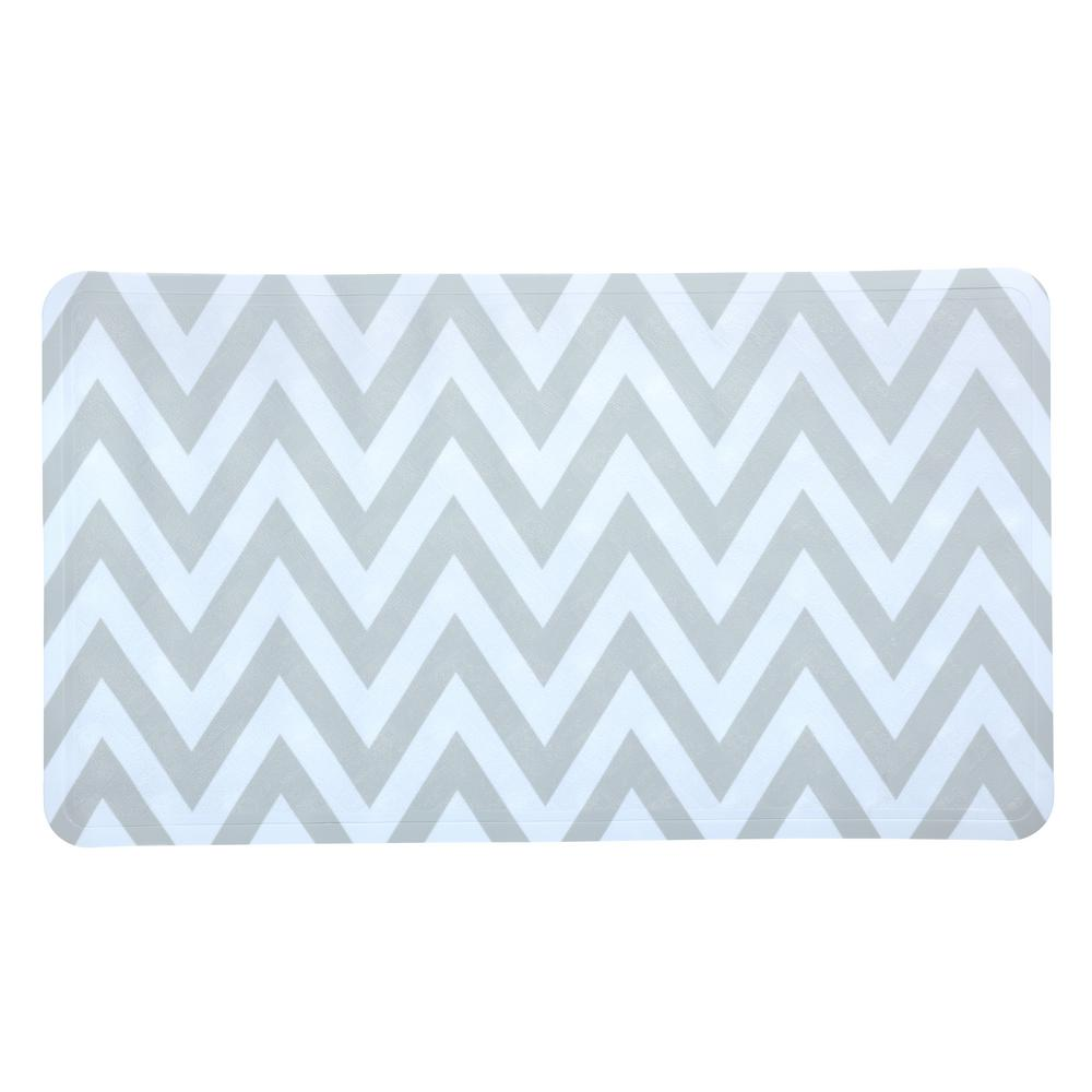 15 in. x 27 in. White and Gray Chevron Bath Mat