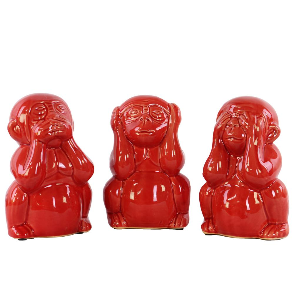 Urban Trend 7 in. H Monkey Decorative Figurine in Red Glo...
