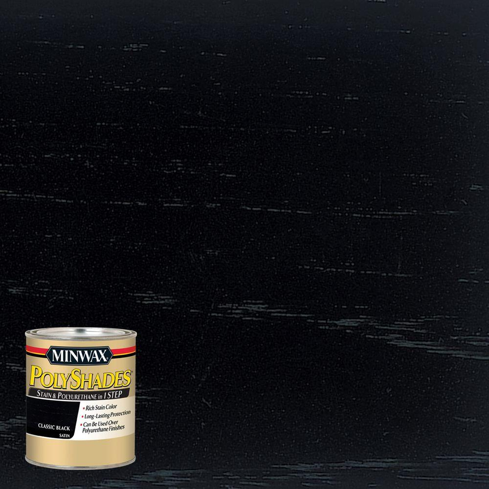 8 oz. PolyShades Classic Black Satin Stain and Polyurethane in 1-Step