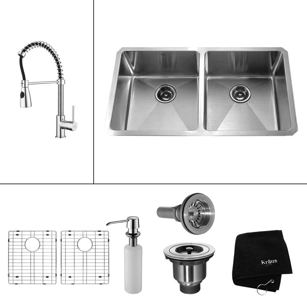 KRAUS Kitchen All-in-One Undermount Stainless Steel 32-3/4x19x10 in. 0-Hole Double Bowl Kitchen Sink with Chrome Kitchen Faucet KHU102-33-KPF1612-KSD30CH