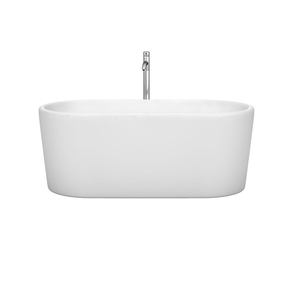 Wyndham Collection Ursula 59 in. Acrylic Flatbottom Center Drain Soaking Tub in White with Polished Chrome Trim and Floor Mounted Faucet
