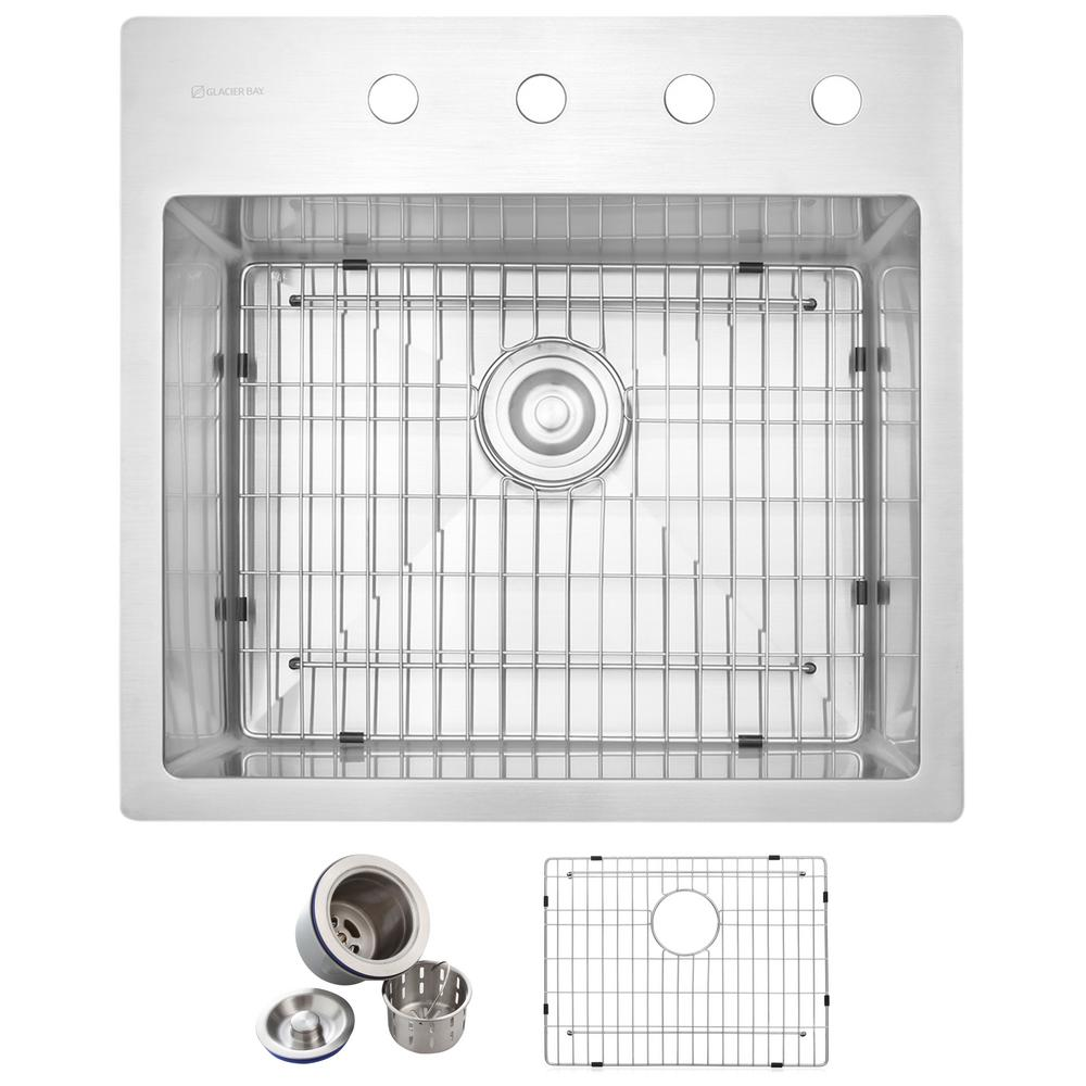 Glacier Bay All In One Drop In Stainless Steel 23 In 4 Hole Single Basin Kitchen Sink In Satin