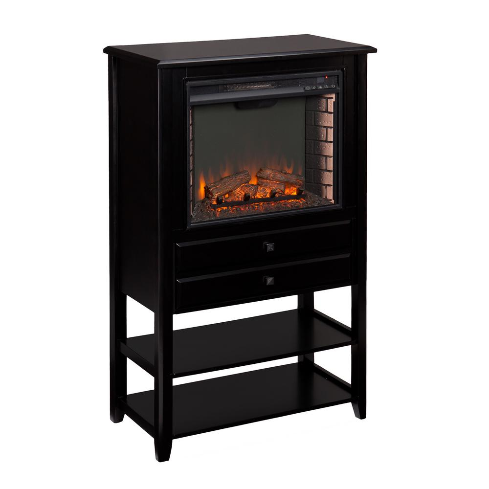 Hanover 32.25 in. W Corner Convertible Electric Fireplace Storage Tower in