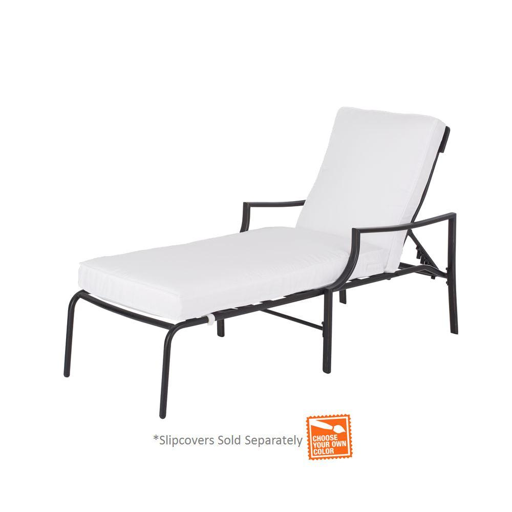 Hampton bay oak heights patio chaise lounge with cushion for Chaise cushion slipcover